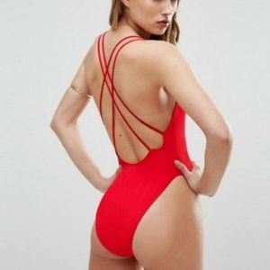 ASOS Cross Back High Leg Cross Back Scoop X